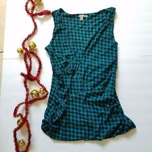Halogen houndstooth blouse overlap Sz M